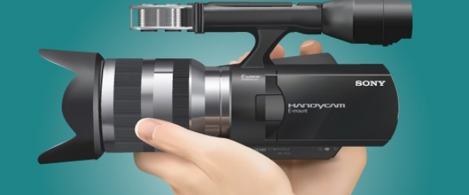 Realistic Sony Handycam With Hand E1402605436677